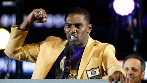 <p>               FILE - In this Nov. 25, 2018, file photo, former Minnesota Vikings wide receiver Randy Moss speaks after receiving his Hall of Fame ring during halftime of an NFL football game between the Vikings and the Green Bay Packersin Minneapolis. The Vikings have drafted six Hall of Famers in the first round. None made more of a splash than Randy Moss in 1998.(AP Photo/Bruce Kluckhohn, File)             </p>