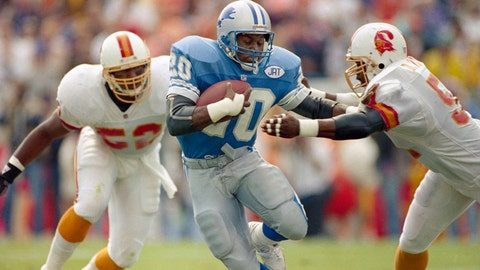 <p>               FILE - In this Nov. 10, 1991, file photo, Detroit Lions running back Barry Sanders, center, plows his way through two defenders during an NFL football game against the Tampa Bay Buccaneers in Tampa, Fla. The Lions have drafted some all-time NFL greats such as Hall of Fame running back Sanders. (AP Photo/Chris O'Meara, File)             </p>