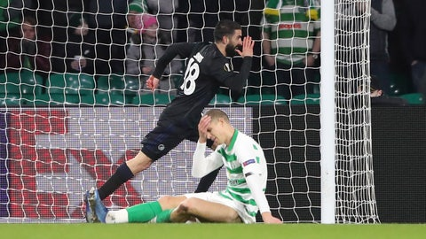 <p>               Copenhagen's Michael Santos celebrates after scoring his side's opening goal during the Europa League round of 32, second leg soccer match between Celtic and FC Copenhagen at the Celtic Park stadium in Glasgow, Scotland, Thursday, Feb. 27, 2020. (AP Photo/Scott Heppell)             </p>