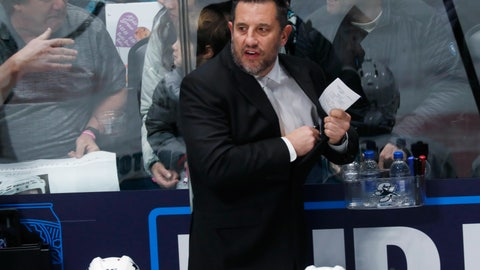 <p>               San Jose Sharks interim coach Bob Boughner directs his team against the Colorado Avalanche during the first period of an NHL hockey game Thursday, Jan. 16, 2020, in Denver. (AP Photo/David Zalubowski)             </p>