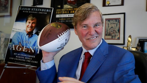 <p>               FILE - In this Feb. 13, 2020, file photo, agent Leigh Steinberg poses for a picture at his office in Newport Beach, Calif. Steinberg and his agency represent 12 NFL draft-eligible players, including a pair of first-round prospects: Alabama's Tua Tagovailoa and Jerry Jeudy. (AP Photo/Chris Carlson, File)             </p>