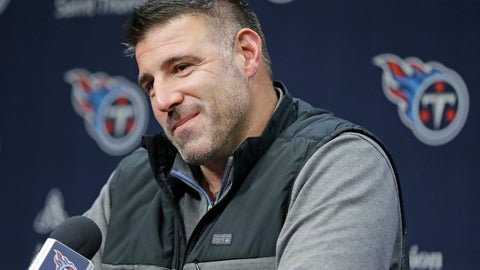 <p>               FILE - In this Jan. 20, 2020, file photo, Tennessee Titans head coach Mike Vrabel listens to a question at a press conference in Nashville, Tenn. The 2020 NFL Draft is April 23-25. (AP Photo/Mark Humphrey, File)             </p>
