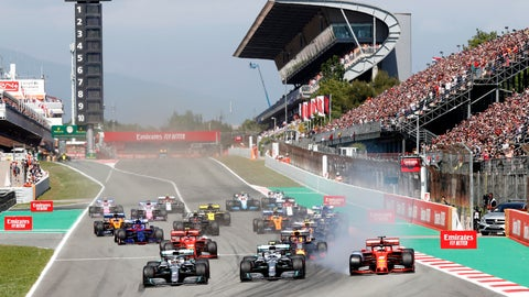 <p>               FILE - In this May 12, 2019 file photo, Mercedes driver Lewis Hamilton, left, of Britain leads the field after the start of the Spanish Formula One race at the Barcelona Catalunya racetrack in Montmelo, just outside Barcelona, Spain. Joan Fontsere, the general manager of the Circuit de Barcelona-Catalunya, says Formula One organizers are open to renegotiating hosting fees for races that may take place without fans this season because of the coronavirus pandemic. (AP Photo/Joan Monfort, File)             </p>