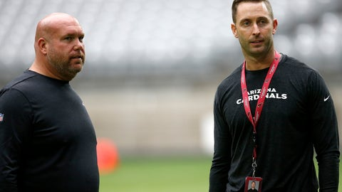 """<p>               FILE - In this July 24, 2019, file photo, Arizona Cardinals coach Kliff Kingsbury, right, talks with general manager Steve Keim as players on the NFL football team run sprints in Glendale, Ariz. Keim has been widely praised over the past few weeks after adding elite receiver DeAndre Hopkins in a trade and signing three potential defensive starters. The moves have given Arizona a lot of flexibility for the upcoming draft, eliminating the gaping holes that needed immediate attention. """"We feel like we're free to take the best available pick that comes at the No. 8 spot,"""" Kingsbury said. """"That's a tribute to Steve and the job that he's done in the offseason."""" (AP Photo/Ross D. Franklin, File)             </p>"""