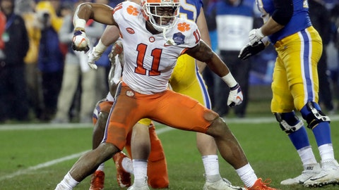 <p>               FILE - In this Dec. 1, 2018, file photo, Clemson's Isaiah Simmons (11) reacts after making a play against Pittsburgh in the first half of the Atlantic Coast Conference championship NCAA college football game in Charlotte, N.C. Simmons was chosen by the Arizona Cardinals with the eighth pick in the NFL draft Thursday, April 23, 2020. (AP Photo/Chuck Burton, File)             </p>