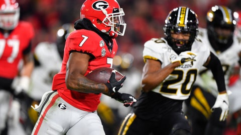 <p>               FILE - In this Nov. 9, 2019, file photo, Georgia running back D'Andre Swift runs as Missouri defensive back Khalil Oliver (20) defends during an NCAA college football game in Athens, Ga. Swift is one of the top running backs in the upcoming NFL draft. (AP Photo/John Amis, File)             </p>