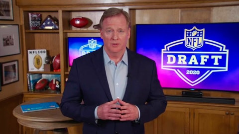 <p>               In this still image from video provided by the NFL, NFL Commissioner Roger Goodell speaks from his home in Bronxville, N.Y., during the NFL football draft Thursday, April 23, 2020. (NFL via AP)             </p>