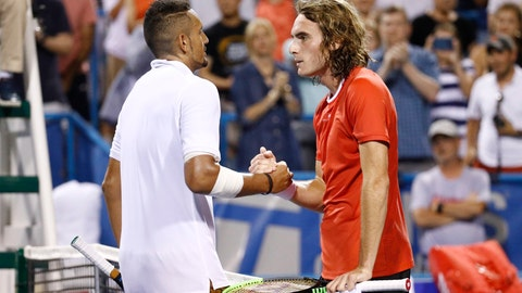<p>               FILE - In this Aug. 3, 2019, file photo, Nick Kyrgios, left, of Australia, and Stefanos Tsitsipas, of Greece, meet at the net after Kyrgios defeated Tsitsipas in a semifinal at the Citi Open tennis tournament in Washington. Tsitsipas sent his tennis mate Kyrgios a special 25th birthday greeting. (AP Photo/Patrick Semansky, File)             </p>
