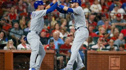 """<p>               FILE - In this Sept. 28, 2019, file photo, Chicago Cubs' Nico Hoerner, left, celebrates with teammate Ian Happ after Happ hit a two-run home run during the third inning of a baseball game against the St. Louis Cardinals in St. Louis. When the coronavirus pandemic stopped spring training last month, Ian Happ offered Nico Hoerner, Zack Short and Dakota Mekkes a place to stay if they wanted to remain in Arizona. That's how """"The Compound"""" was born. (AP Photo/Scott Kane, File)             </p>"""