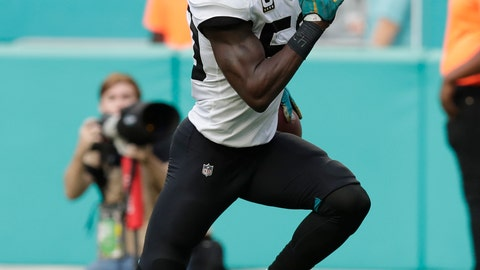 <p>               FILE - In this Dec. 23, 2018, file photo, Jacksonville Jaguars outside linebacker Telvin Smith (50) runs for a touchdown after intercepting a pass, during the second half at an NFL football game against the Miami Dolphins in Miami Gardens, Fla. Former Jaguars linebacker Smith has been arrested on a charge of unlawful sexual activity with certain minors. He was booked into the Jacksonville Sheriff's Office Jail around 5 p.m. Wednesday, April 29, 2020. (AP Photo/Brynn Anderson, File)             </p>