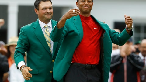<p>               FILE - In this April 14, 2019, file photo, Patrick Reed, left, helps Tiger Woods with his green jacket after Woods won the Masters golf tournament, in Augusta, Ga. The annual rite of spring for golf won't happen this year. The Masters has been postponed until a later date. Augusta National did not indicate when the Masters would be played. That means there will be no golf at least for the next month. The Masters began in 1934 and only World War II has kept it from being played. This was the biggest shoe to drop for golf. The PGA Tour already canceled the next three events leading up to the Masters. Tiger Woods was to be going after his sixth green jacket. (AP Photo/Matt Slocum, File)             </p>