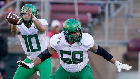 <p>               FILE - In this Sept. 21, 2019, file photo, Oregon offensive linemen Shane Lemieux blocks for quarterback Justin Herbert (10) during the first half of an NCAA college football game against Stanford   in Stanford, Calif. The New York Giants selected Lemieux in the fifth round of the NFL football draft on Saturday, April 25, 2020. (AP Photo/Tony Avelar, File)             </p>