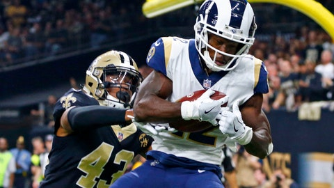 <p>               FILE - In this Nov. 4, 2018, file photo, Los Angeles Rams wide receiver Brandin Cooks (12) pulls in a touchdown reception in front of New Orleans Saints free safety Marcus Williams (43) in the first half of an NFL football game in New Orleans. A person familiar with the deal says the Rams are trading Cooks to the Houston Texans. The person spoke on condition of anonymity Thursday, April 9, 2020, because the teams had not announced the deal. The NFL Network reported the Rams will get a second-round pick while sending a future fourth-rounder to Houston. (AP Photo/Butch Dill, File)             </p>