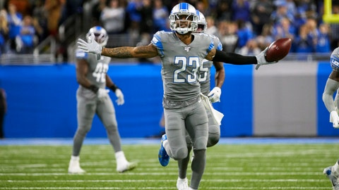 <p>               FILE - In this Nov. 28, 2019, file photo, Detroit Lions cornerback Darius Slay (23) celebrates an interception against the Chicago Bears during an NFL football game in Detroit. The Lions agreed to trade cornerback Darius Slay to the Philadelphia Eagles, ending the standout defensive back's seven-year stint in Detroit. Agent Drew Rosenhaus confirmed the trade Thursday, March 19, 2020, and that Slay has agreed to a three-year, $50 million extension with Philadelphia. (AP Photo/Rick Osentoski, File)             </p>