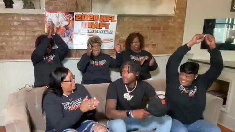 <p>               In this still image from video provided by the NFL, Tee Higgins, front center, is selected by the Cincinnati Bengals in the second round of the NFL football draft, Friday, April 24, 2020. (NFL via AP)             </p>