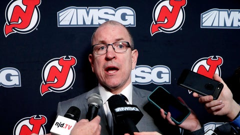 <p>               FILE - In this Feb. 16, 2020, file photo, New Jersey Devils interim general manager Tom Fitzgerald answers reporters' questions after the team announced that captain Andy Greene was traded to the New York Islanders before an NHL hockey game in Newark, N.J. The suspension of play in the NHL because of the coronavirus pandemic has put Fitzgerald of the Devils is limbo. The 51-year-old is waiting to see if the league will finish its season and also see if he still has a job. (AP Photo/Kathy Willens, File)             </p>