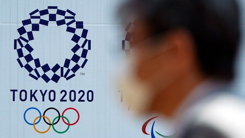 <p>               A man wearing a protective face mask walks near the Tokyo 2020 Olympics Thursday, April 2, 2020, in Tokyo. The new coronavirus causes mild or moderate symptoms for most people, but for some, especially older adults and people with existing health problems, it can cause more severe illness or death. (AP Photo/Eugene Hoshiko)             </p>