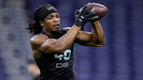 <p>               FILE - In this March 1, 2020, file photo, Lenoir-Rhyne defensive back Kyle Dugger runs a drill at the NFL football scouting combine in Indianapolis. Dugger made Hickory, North Carolina, a must stop for NFL scouts last fall.  (AP Photo/Michael Conroy)             </p>