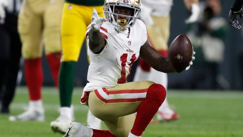 <p>               FILE - In this Oct. 15, 2018, file photo, San Francisco 49ers wide receiver Marquise Goodwin (11) celebrates after a catch for a first down during the second half of an NFL football game against the Green Bay Packers in Green Bay, Wis. The Philadelphia Eagles have acquired wide Goodwin from the San Francisco 49ers. The teams flipped sixth-round picks with Philadelphia getting No. 210 and San Francisco receiving No. 190 on Saturday, April 25, 2020.(AP Photo/Matt Ludtke, File)             </p>