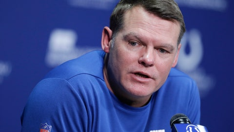 <p>               FILE - In this Jan. 2, 2020, file photo, Indianapolis Colts general manager Chris Ballard speaks during a news conference at the team's NFL football training facility in Indianapolis. The 2020 NFL Draft is April 23-25. (AP Photo/Darron Cummings, File)             </p>