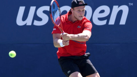 <p>               FILE - In this Aug. 29, 2019, file photo, Denis Kudla, of the United States, returns a shot to Dusan Lajovic, of Serbia, during the second round of the U.S. Open tennis championships in New York. Some professional tennis players and coaches are having a hard time financially right now because of the coronavirus pandemic. Unlike their counterparts in team sports, they do not have regular salaries. (AP Photo/Sarah Stier, File)             </p>