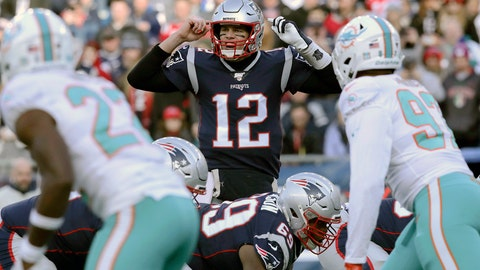 <p>               FILE - In this Dec. 29, 2019, file photo, New England Patriots quarterback Tom Brady calls signals at the line of scrimmage against the Miami Dolphins in the first half of an NFL football game in Foxborough, Mass. The Dolphins signed seven potential starters, but none will help their chances of overtaking the New England Patriots in the AFC East as much as Tom Brady did by bolting from Boston for Tampa Bay. (AP Photo/Charles Krupa, File)             </p>