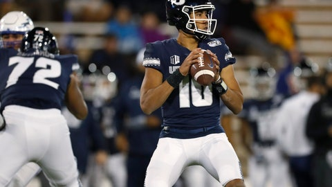 <p>               FILE - In this Oct. 26, 2019, file photo, Utah State quarterback Jordan Love looks for a receiver during the team's NCAA college football game against Air Force at Air Force Academy, Colo. The Green Bay Packers selected Love in the first round of the NFL draft Thursday, April 23, 2020. (AP Photo/David Zalubowski, File)             </p>