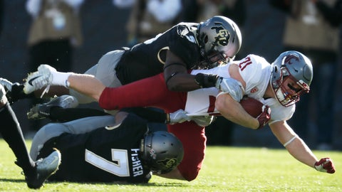 <p>               FILE - In this Nov. 10, 2018, file photo, Washington State running back Max Borghi, center, is tackled after a short gain by Colorado linebacker Davion Taylor, top, and defensive back Nick Fisher in the first half of an NCAA college football game in Boulder, Colo. Taylor took an unusual path to the cusp of the NFL draft. He did not play in high school because of his religion and spent two years at a community college before spending two seasons at the University of Colorado. (AP Photo/David Zalubowski, File)             </p>