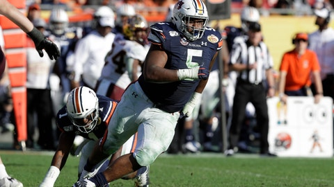 <p>               FILE - In this Jan. 1, 2020, file photo, Auburn defensive tackle Derrick Brown (5) runs during the second half of the Outback Bowl NCAA college football game against Minnesota in Tampa, Fla. The Carolina Panthers selected Brown with the seventh pick in the first round of the NFL draft. (AP Photo/Chris O'Meara, File)             </p>