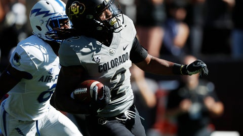 <p>               FILE - In this Sept. 14, 2019, file photo, Colorado wide receiver Laviska Shenault Jr., front, outruns Air Force defensive back Zane Lewis to the end zone for a touchdown in the first half of an NCAA college football game in Boulder, Colo. The NFL's shutdown because of the coronavirus pandemic is denying teams the opportunity to get face time with draft prospects who have been injured, have checkered pasts or are under the radar. Shenault Jr. looked like a first-round pick after his breakout season in 2018. His health, coupled with his production falling off last year, might keep him on the board longer than he expected.  (AP Photo/David Zalubowski, File)             </p>