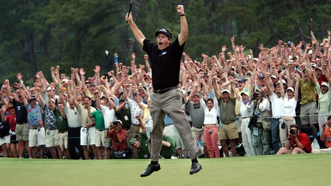 <p>               FILE - In this April 11, 2004, file photo, Phil Mickelson celebrates after winning the Masters golf tournament at the Augusta National Golf Club in Augusta, Ga. When Augusta comes up, one instantly thinks of the Masters. At least the Masters still has hope of being held at some point this year. The College World Series in Omaha, Nebraska and the Women's College World Series in Oklahoma City have already been wiped from the 2020 calendar. (AP Photo/Dave Martin, File)             </p>