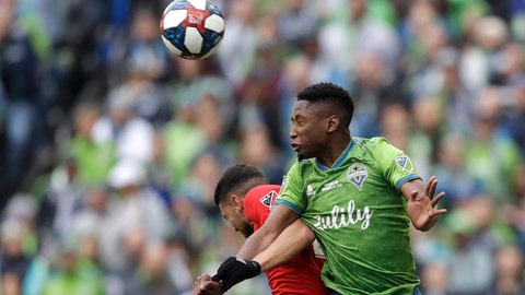 <p>               FILE - In this Nov. 10, 2019, file photo, Seattle Sounders' Kelvin Leerdam, right, heads the ball in front of Toronto FC's Jonathan Osorio during the second half of the MLS Cup championship soccer match in Seattle. Leerdam has been fortunate compared to many of the other foreign players in Major League Soccer, and it was completely by accident. Born in Suriname but raised in the Netherlands, Leerdam still makes his full-time home in Europe when he's not playing for the Seattle Sounders.  When the school schedule in the Netherlands lined up for his wife and two young children to join him in Seattle for the start of the MLS season in early March, Leerdam jumped at the chance to have his family together. Little did they know that the COVID-19 virus pandemic was about to overtake much of the world, making travel for his family a major challenge. (AP Photo/Elaine Thompson, File)             </p>