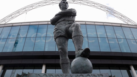 <p>               The statue of the late England player Bobby Moore outside Wembley Stadium in London, Tuesday, March 17, 2020. UEFA has formally proposed postponing the 2020 European Championship for one year because of the coronavirus outbreak. The Norwegian soccer association says the new tournament dates will be June 11 to July 11. (AP Photo/Alastair Grant)             </p>