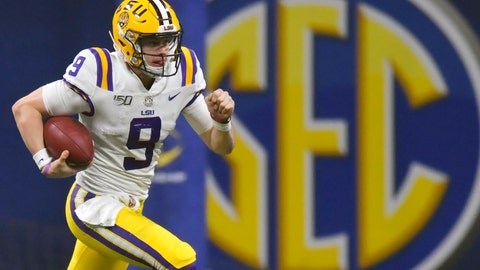 <p>               FILE - In this Dec. 7, 2019, file photo, LSU quarterback Joe Burrow (9) runs against Georgia during the second half of the Southeastern Conference championship NCAA college football game, in Atlanta. The Southeastern Conference broke the NFL record for first-round draft picks by a conference. Fifteen players from the powerhouse league were selected in the opening round Thursday night, April 23, 2020. (AP Photo/Mike Stewart, File)             </p>