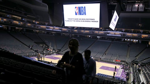 """<p>               FILE - In this March 11, 2020 photo, fans leave the Golden 1 Center  in Sacramento, Calif., after the NBA basketball game between the New Orleans Pelicans and Sacramento Kings was postponed at the last minute over an """"abundance of caution"""" after a player for the Jazz tested positive for the coronavirus.  A person with knowledge of the situation says NBA players will be allowed to return to team training facilities starting Friday, May 1 provided that their local governments do not have a stay-at-home order prohibiting such movement.   (AP Photo/Rich Pedroncelli, File)             </p>"""