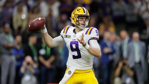 <p>               FILE - In this Jan. 13, 2020, file photo, LSU quarterback Joe Burrow throws a pass against Clemson during the second half of the NCAA College Football Playoff national championship game in New Orleans. The Cincinnati Bengals chose Burrow with the first pick in the NFL draft Thursday, April. 23, 2020. (AP Photo/Gerald Herbert, File)             </p>