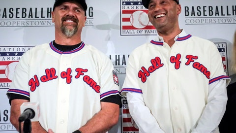 <p>               FILE - In this Jan. 22, 2020, file photo, former New York Yankees shortstop Derek Jeter, right, and former Colorado Rockies outfielder Larry Walker pose after receiving their Baseball Hall of Fame jerseys during a baseball news conference in New York.  Jeter and Walker and the rest of this year's Baseball Hall of Fame class will have to wait for their big moment at Cooperstown. The Hall of Fame announced Wednesday, April 29, 2020, that it has canceled its July 26 induction ceremony because of the coronavirus outbreak. (AP Photo/Bebeto Matthews, File)             </p>