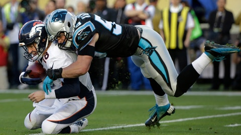 <p>               FLE - In this Feb. 7, 2016, file photo, Denver Broncos' Peyton Manning, left, is sacked by Carolina Panthers' Luke Kuechly during the first half of the NFL Super Bowl 50 football game in Santa Clara, Calif. Next Monday, April 6, 2020, the Hall of Fame and the NFL will announce the roster for the 2010-19 All-Decade team. Kuechly is a possible pick at linebacker. (AP Photo/Jae C. Hong, File)             </p>