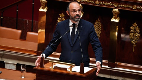 <p>               French Prime Minister Edouard Philippe presents his plan to exit from the lockdown at the National Assembly in Paris, Tuesday, April 28, 2020. French Prime Minister Edouard Philippe has outlined a stringent plan to fight coronavirus in France by automatically testing everyone who's come in contact with someone infected with COVID-19. (David Niviere, Pool via AP)             </p>