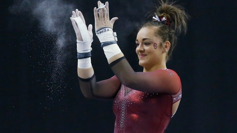 <p>               FILE - In this Feb. 16, 2019, file photo, Oklahoma gymnast Maggie Nichols reacts after her routine on the uneven bars in the Perfect 10 Challenge at the Bart and Nadia Sports Experience in Oklahoma City. Nichols' gymnastics career came to an abrupt end last month due to the COVID-19 pandemic. The world championship gold medalist and NCAA champion's legacy however, extends far beyond the floor. Nichols played a key role in exposing the abusive behavior of disgraced doctor Larry Nassar.(AP Photo/Sue Ogrocki, File)             </p>