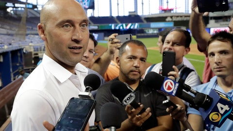 <p>               FILE - In this May 3, 2019, file photo, Miami Marlins CEO Derek Jeter talks with reporters before a baseball game against the Atlanta Bravesin Miami. Marlins CEO Derek Jeter told team employees during a conference call Monday, April 20, 2020, he is forgoing his salary during the coronavirus pandemic, a person familiar with the discussions told The Associated Press. The person confirmed Jeter's comments to the AP on condition of anonymity because the Marlins have not commented publicly on the call. (AP Photo/Lynne Sladky, File)             </p>