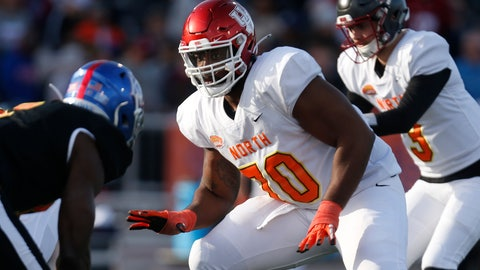 <p>               FILE - In this Jan. 25, 2020, file photo, North offensive tackle Josh Jones of Houston (70) is shown playing during the second half of the Senior Bowl college football game in Mobile, Ala. Josh Jones is a possible pick in the NFL Draft which runs Thursday, April 23, 2020, thru Saturday, April 25.(AP Photo/Butch Dill)             </p>