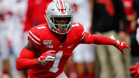 <p>               FILE - This is an Aug. 31, 2019, file photo showing Ohio State defensive back Jeff Okudah playing against Florida Atlantic in an NCAA college football game in Columbus, Ohio. Okudah is a possible pick at the NFL Draft which runs Thursday, April 23, 2020, thru Saturday, April 25. (AP Photo/Jay LaPrete, File)             </p>