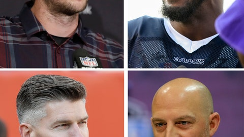 <p>               FILE - These are 2019 file photos showing, clockwise from top left, then-Jacksonville Jaguars' Nick Foles, then-Dallas Cowboys Robert Quinn, Chicago Bears head coach Matt Nagy and Bears general manager Ryan Pace. General manager Ryan Pace and coach Matt Nagy address an active offseason for the Chicago Bears, who are trying to bounce back after missing the playoffs in a season that began with Super Bowl hopes. Two of the most notable additions are pass rusher Robert Quinn and quarterback Nick Foles. (AP Photo/File)             </p>