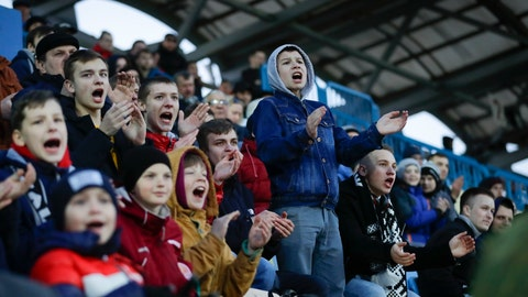 <p>               FILE In this file photo taken on Friday, March 27, 2020, young fans of Torpedo-BelAZ Zhodino react during the Belarus Championship soccer match between Torpedo-BelAZ Zhodino and Belshina Bobruisk in the town of Zhodino, Belarus. Soccer fans from two clubs in Belarus say they will stop going to games because of the coronavirus. Belarus is the only nation in Europe still hosting professional soccer games with fans in the stadium. The new coronavirus causes mild or moderate symptoms for most people, but for some, especially older adults and people with existing health problems, it can cause more severe illness or death. (AP Photo/Sergei Grits, File)             </p>