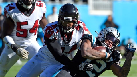 <p>               FILE - Atlanta Falcons defensive end Vic Beasley (44) tackles Carolina Panthers wide receiver D.J. Moore (12) during the first half of an NFL football game in Charlotte, N.C. The division that led the AFC in sacks in 2019 might be even tougher to block next season. Every team in the AFC South made at least one major move along the defensive front between free agency and the draft. Tennessee signed 2016 NFL sack leader Beasley in free agency. (AP Photo/Mike McCarn, File)             </p>