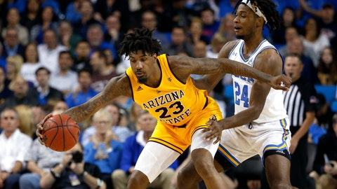 <p>               Arizona State forward Romello White (23) is defended by UCLA forward Jalen Hill (24) during the first half of an NCAA college basketball game Thursday, Feb. 27, 2020, in Los Angeles. (AP Photo/Ringo H.W. Chiu)             </p>