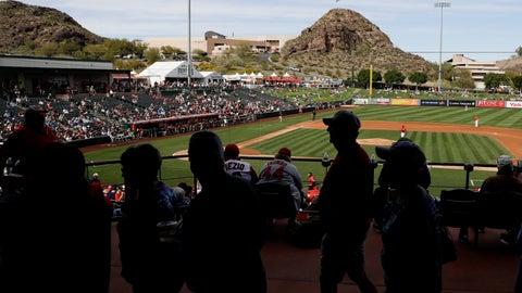 <p>               Fans watch a spring training baseball game between the Los Angeles Angels and the San Diego Padres, Thursday, Feb. 27, 2020, in Tempe, Ariz. (AP Photo/Darron Cummings)             </p>