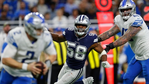 <p>               FILE - In this Nov. 17, 2019, file photo, Dallas Cowboys defensive end Robert Quinn (58) chases Detroit Lions quarterback Jeff Driskel (2) during an NFL football game in Detroit. The Chicago Bears finalized a five-year, $70 million contract with former All-Pro pass rusher Quinn on Wednesday, April 1, 2020. (AP Photo/Paul Sancya, File)             </p>