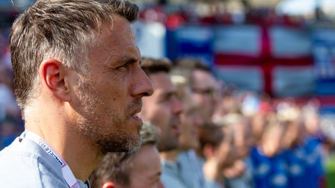 <p>               England's manager Phil Neville looks on during the playing of his teams national anthem before a SheBelieves Cup soccer match against Spain, Wednesday, March 11, 2020, in Frisco, Texas. (AP Photo/Sam Hodde)             </p>